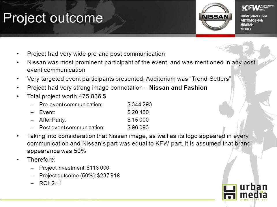 Project outcome Project had very wide pre and post communication Nissan was most prominent participant of the event, and was mentioned in any post event communication Very targeted event participants presented.