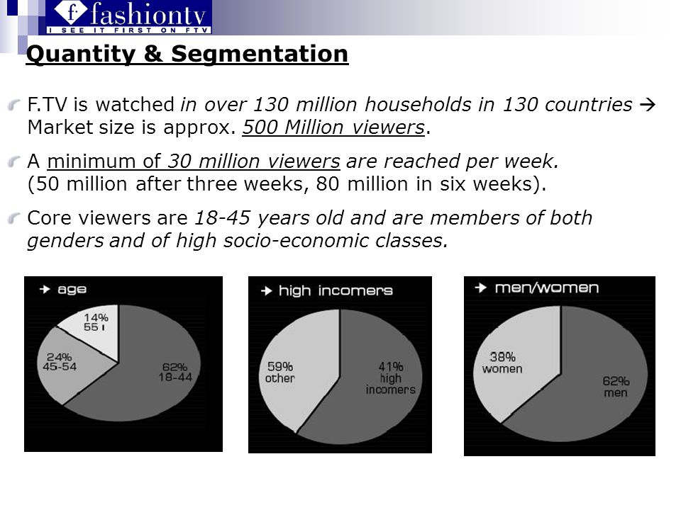 Quantity & Segmentation F.TV is watched in over 130 million households in 130 countries Market size is approx.