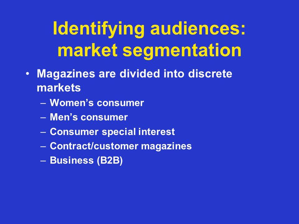 Market segmentation Each market is sub-divided –Womens weeklies Classics (eg Woman, Womans Own, Bella) Easy entertainment (eg Chat, Take a Break) Mature (eg Womans Weekly, Peoples Friend) Celebrity (eg Heat, Now, Reveal, Hello!, OK!) Fashion (eg Grazia, Look)