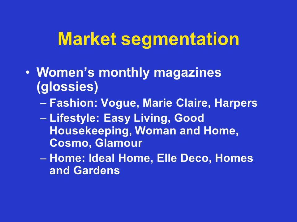 Market segmentation Mens market –Weeklies Nuts!, Zoo –Monthlies FHM, Loaded, GQ, Esquire, –Health Mens Health Mens Fitness