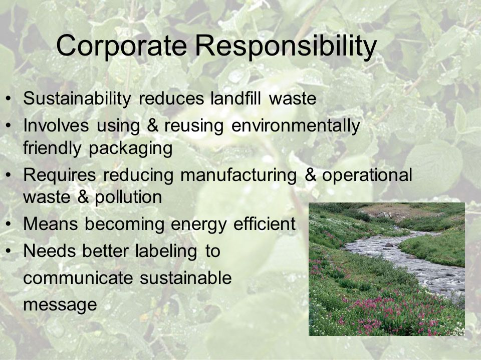 Corporate Responsibility Sustainability reduces landfill waste Involves using & reusing environmentally friendly packaging Requires reducing manufactu