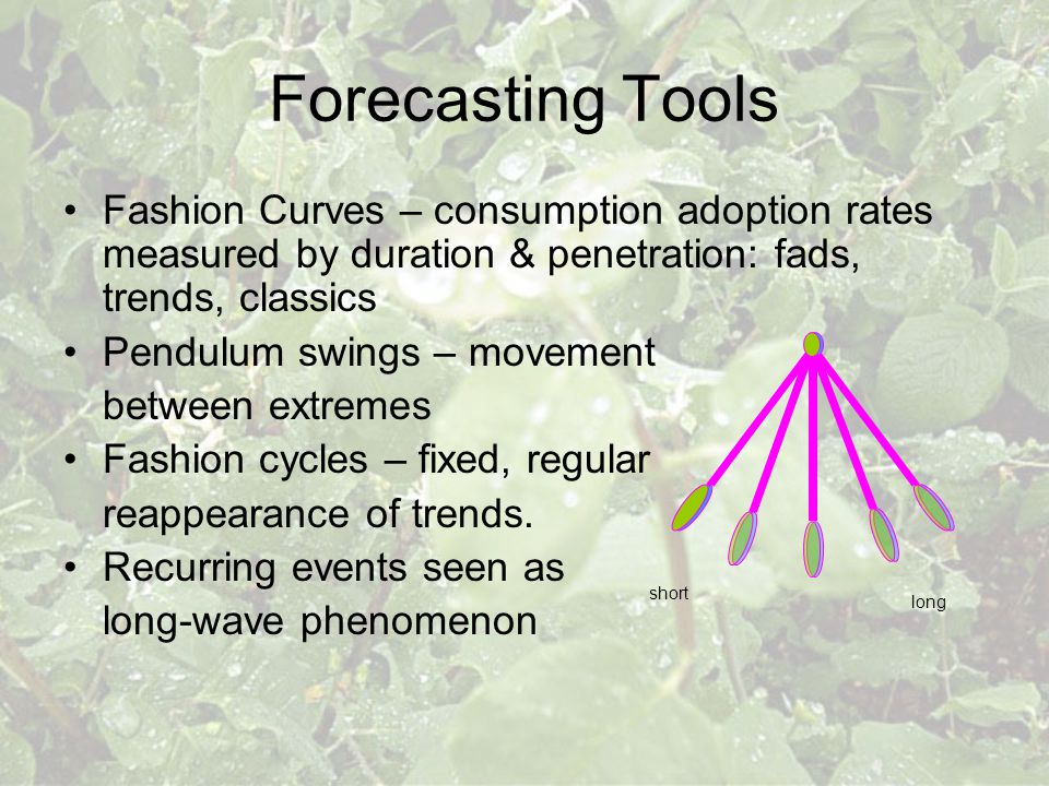 Forecasting Tools Fashion Curves – consumption adoption rates measured by duration & penetration: fads, trends, classics Pendulum swings – movement be