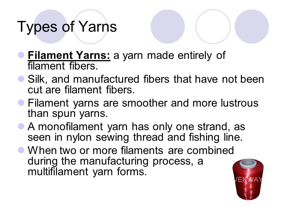 Types of Yarns Filament Yarns: a yarn made entirely of filament fibers.