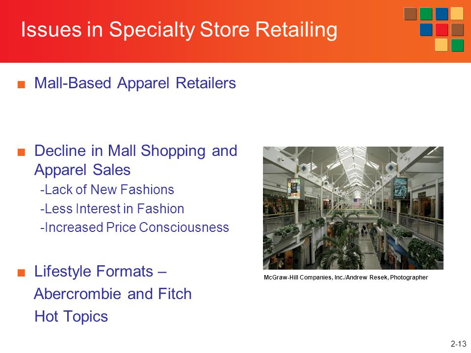 2-13 Issues in Specialty Store Retailing Mall-Based Apparel Retailers Decline in Mall Shopping and Apparel Sales -Lack of New Fashions -Less Interest