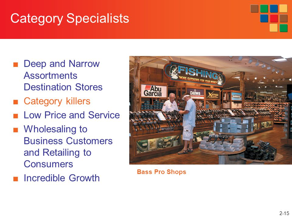 2-15 Category Specialists Deep and Narrow Assortments Destination Stores Category killers Low Price and Service Wholesaling to Business Customers and