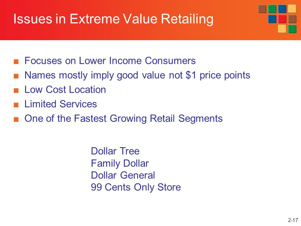 2-17 Issues in Extreme Value Retailing Focuses on Lower Income Consumers Names mostly imply good value not $1 price points Low Cost Location Limited S