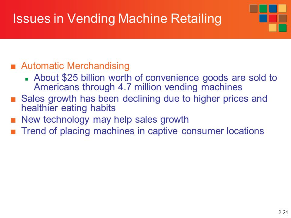 2-24 Issues in Vending Machine Retailing Automatic Merchandising About $25 billion worth of convenience goods are sold to Americans through 4.7 millio