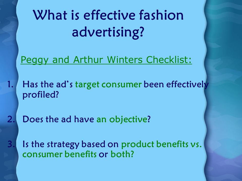 What is effective fashion advertising.