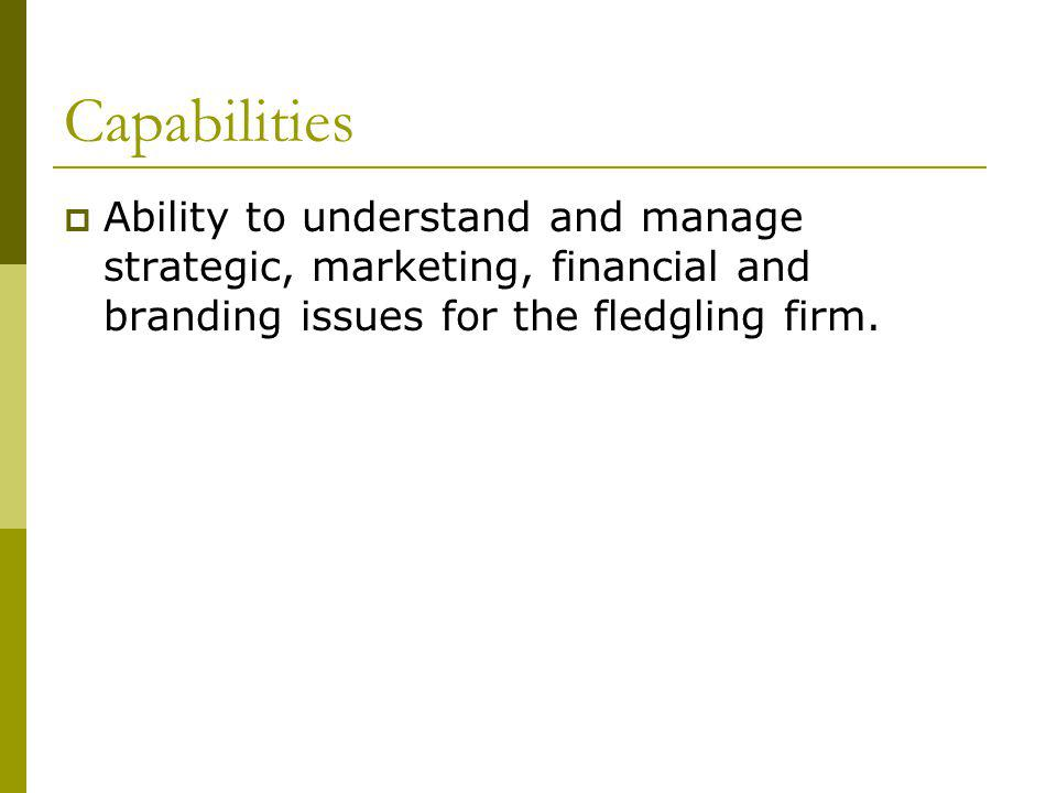 Capabilities Ability to understand and manage strategic, marketing, financial and branding issues for the fledgling firm.