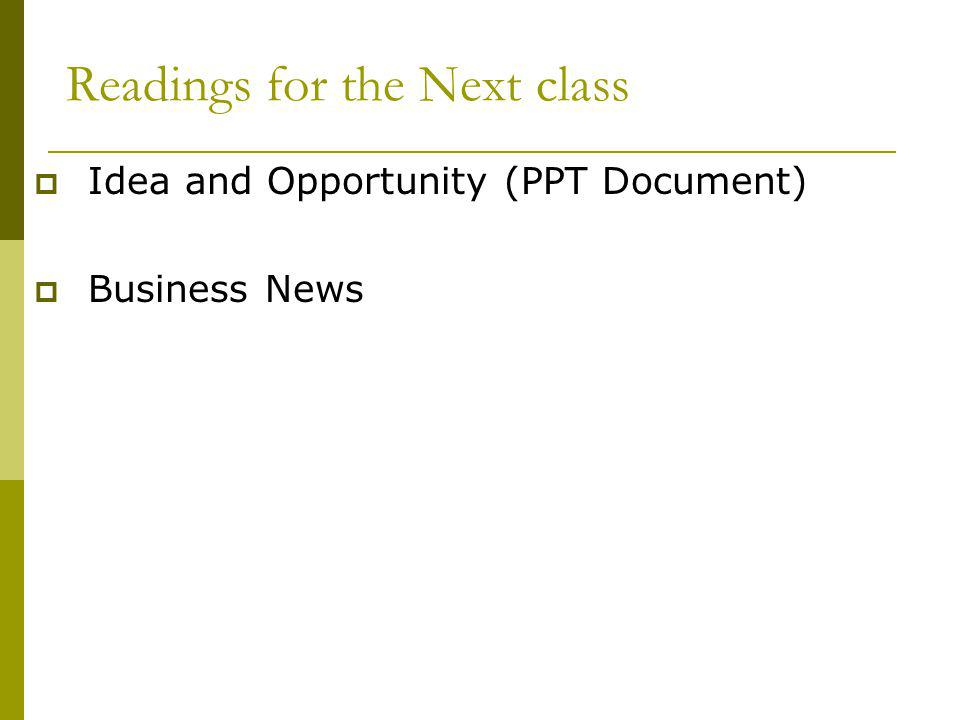 Readings for the Next class Idea and Opportunity (PPT Document) Business News