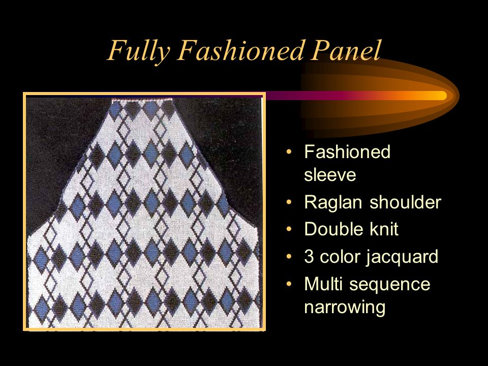 Fully Fashioned Panel Fashioned sleeve Raglan shoulder Double knit 3 color jacquard Multi sequence narrowing