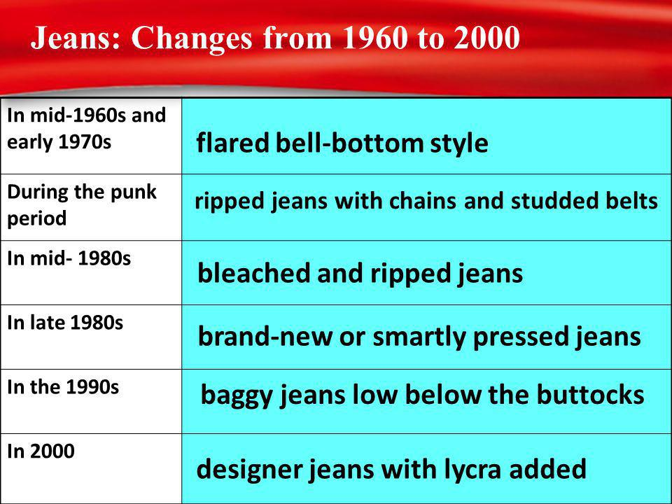 Jeans: Changes from 1960 to 2000 In mid-1960s and early 1970s During the punk period In mid- 1980s In late 1980s In the 1990s In 2000 flared bell-bottom style ripped jeans with chains and studded belts bleached and ripped jeans brand-new or smartly pressed jeans baggy jeans low below the buttocks designer jeans with lycra added