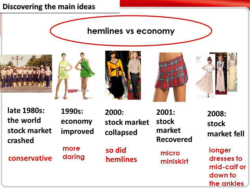 2000: stock market collapsed 2001: stock market Recovered 1990s: economy improved hemlines vs economy 2008: stock market fell more daring so did hemlines micro miniskirt longer dresses to mid-calf or down to the ankles late 1980s: the world stock market crashed conservative Discovering the main ideas Discovering the main ideas Discovering the main ideas Discovering the main ideas