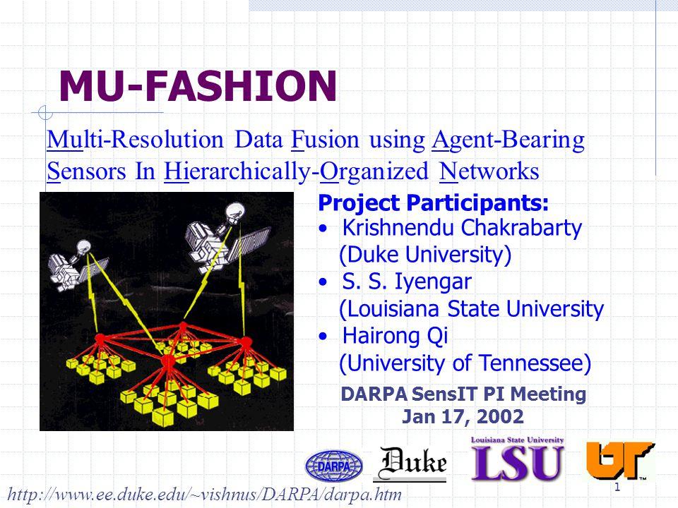 1 MU-FASHION Multi-Resolution Data Fusion using Agent-Bearing Sensors In Hierarchically-Organized Networks Project Participants: Krishnendu Chakrabarty (Duke University) S.