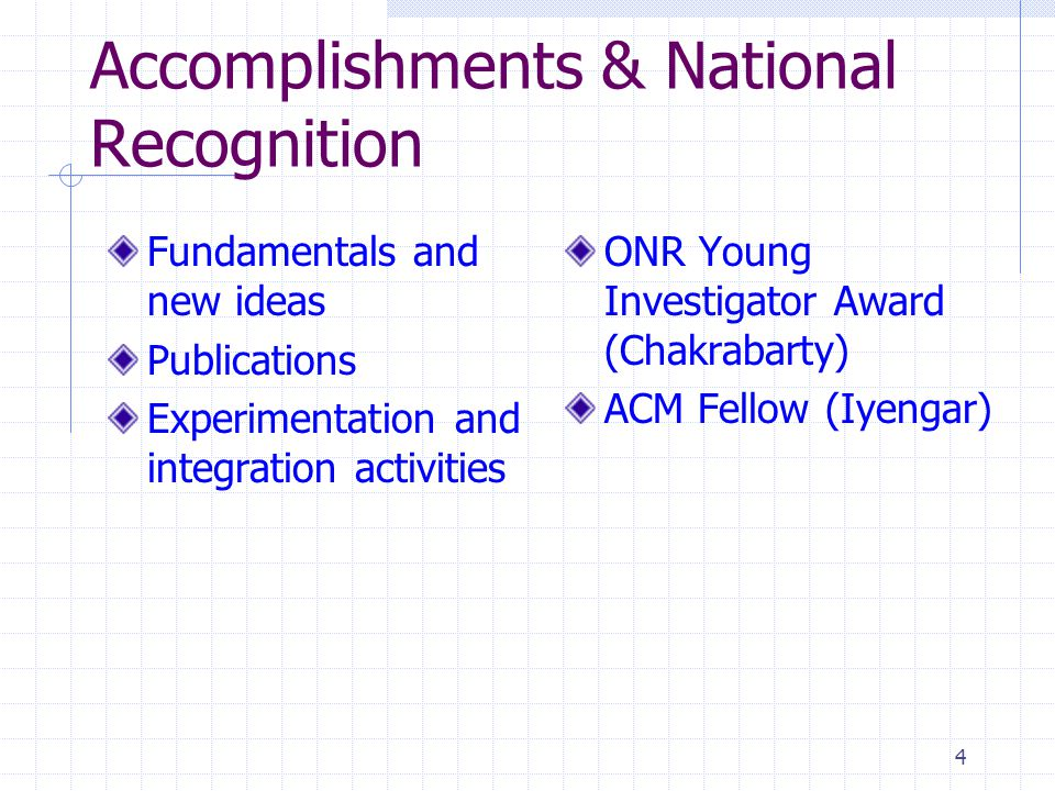 4 Accomplishments & National Recognition Fundamentals and new ideas Publications Experimentation and integration activities ONR Young Investigator Awa