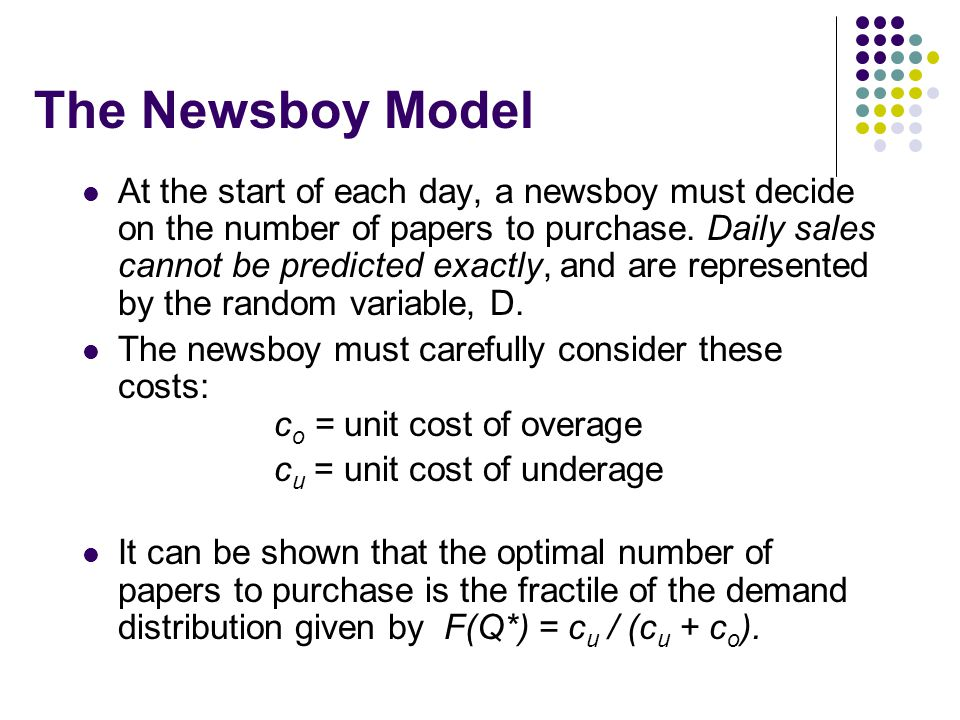 Determination of the Optimal Order Quantity for Newsboy Example