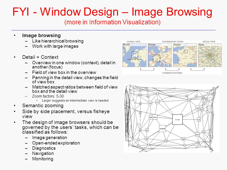 FYI - Window Design – Image Browsing (more in Information Visualization) Image browsing –Like hierarchical browsing –Work with large images Detail + C