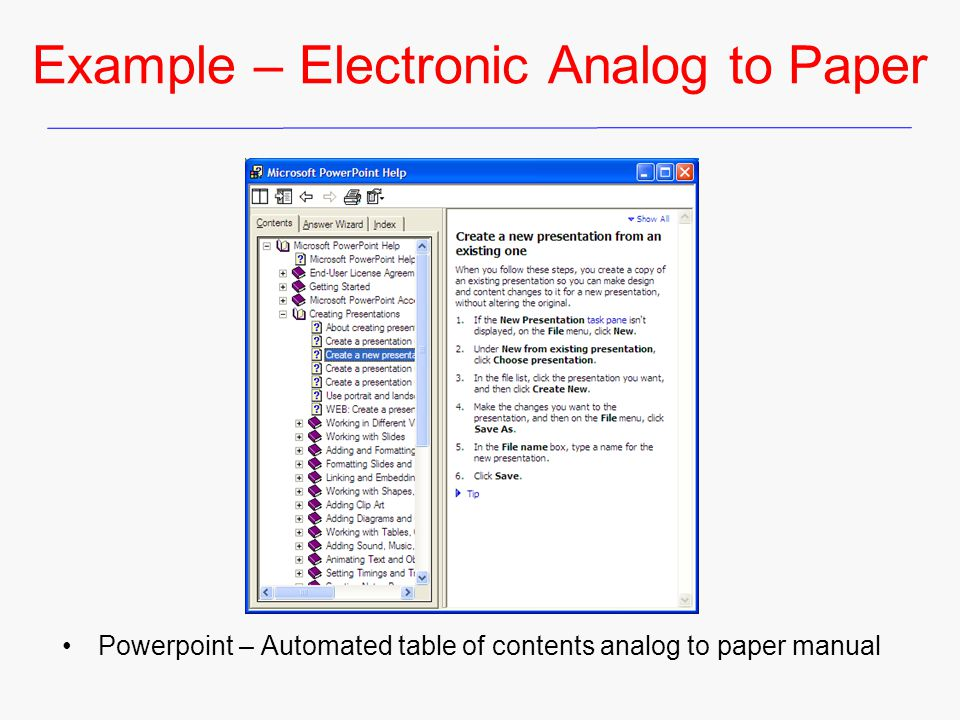 Example – Electronic Analog to Paper Powerpoint – Automated table of contents analog to paper manual