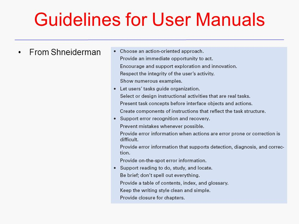 Guidelines for User Manuals From Shneiderman