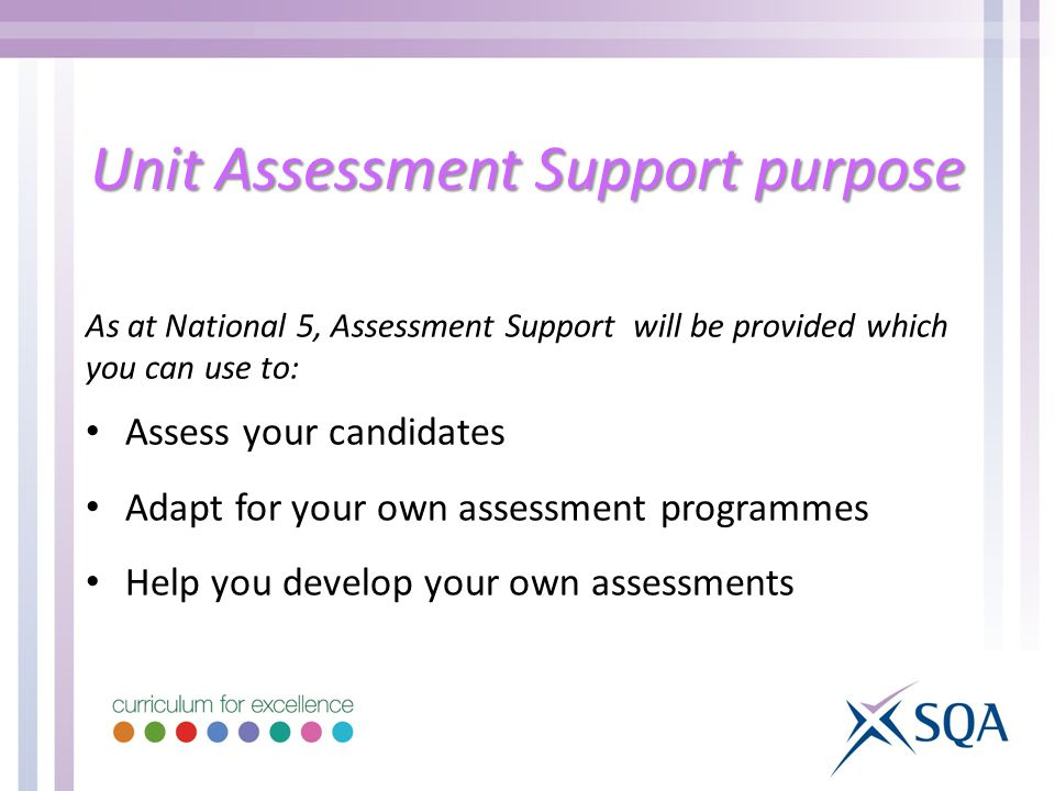 Unit Assessment Support purpose As at National 5, Assessment Support will be provided which you can use to: Assess your candidates Adapt for your own assessment programmes Help you develop your own assessments