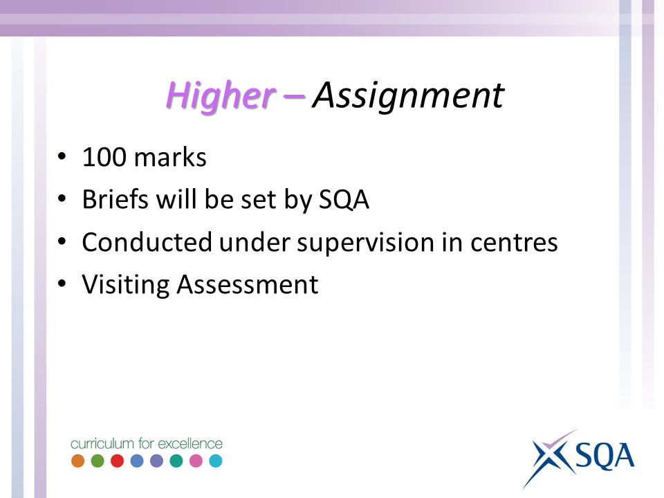Higher – Higher – Assignment 100 marks Briefs will be set by SQA Conducted under supervision in centres Visiting Assessment