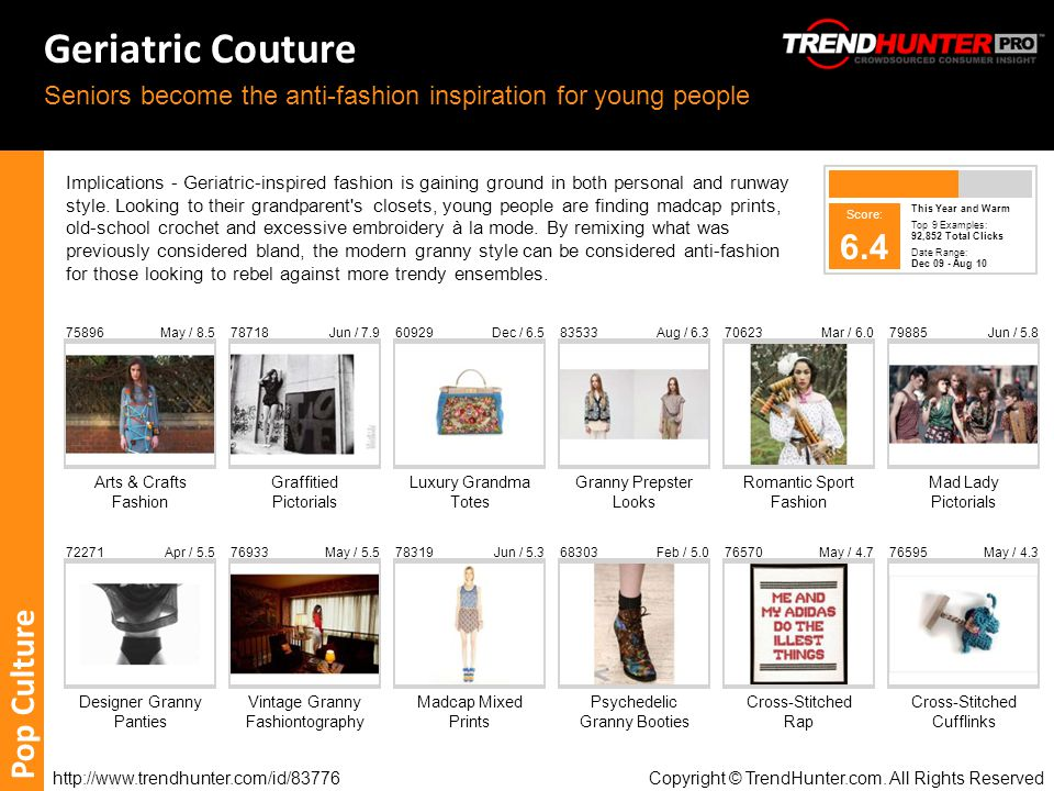 http://www.trendhunter.com/id/83776 Copyright © TrendHunter.com. All Rights Reserved Geriatric Couture Seniors become the anti-fashion inspiration for
