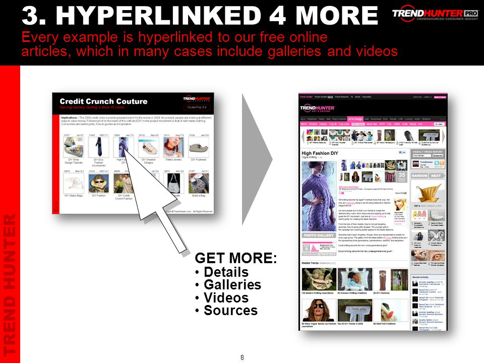 TREND HUNTER 8 3. HYPERLINKED 4 MORE Every example is hyperlinked to our free online articles, which in many cases include galleries and videos GET MO