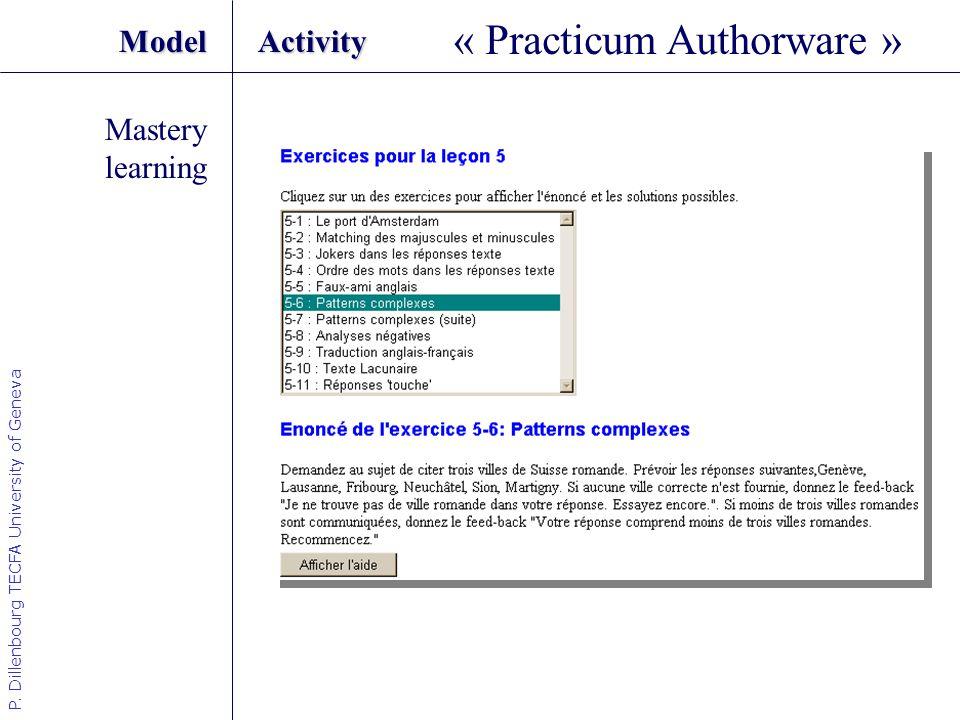 P. Dillenbourg TECFA University of Geneva ModelActivity Mastery learning « Practicum Authorware »