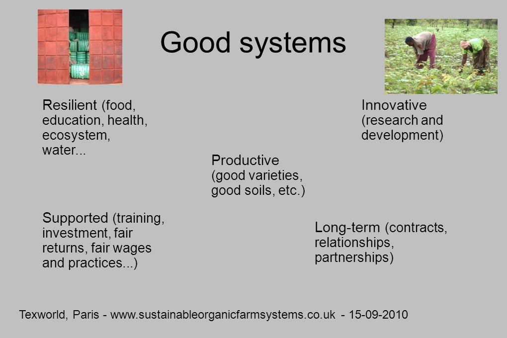 Texworld, Paris - www.sustainableorganicfarmsystems.co.uk - 15-09-2010 Good systems Productive (good varieties, good soils, etc.) Resilient (food, education, health, ecosystem, water...
