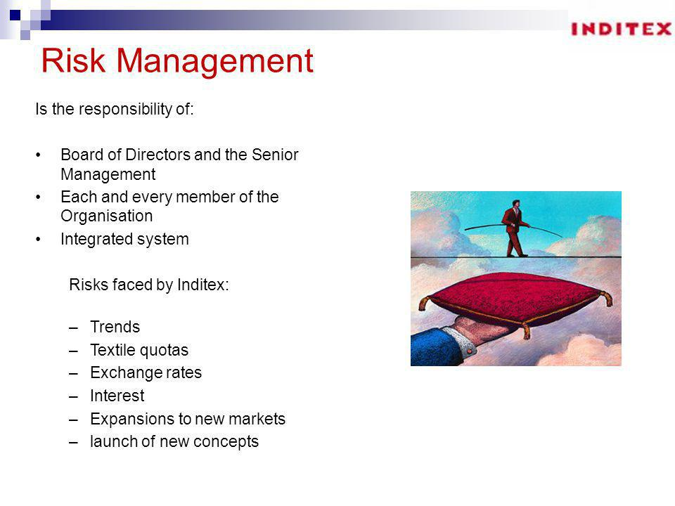 Risk Management Is the responsibility of: Board of Directors and the Senior Management Each and every member of the Organisation Integrated system Risks faced by Inditex: –Trends –Textile quotas –Exchange rates –Interest –Expansions to new markets –launch of new concepts