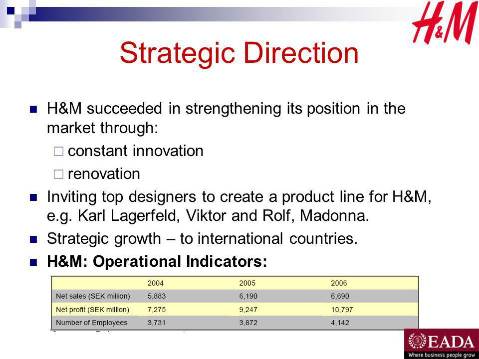 Strategic Direction H&M succeeded in strengthening its position in the market through: constant innovation renovation Inviting top designers to create a product line for H&M, e.g.