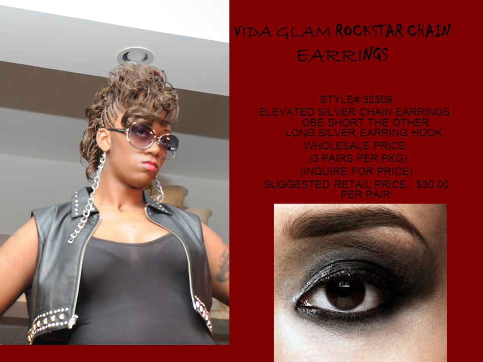 V IDA GLAM ROCKSTAR CHAIN EARRI NGS STYLE# ELEVATED SILVER CHAIN EARRINGS.