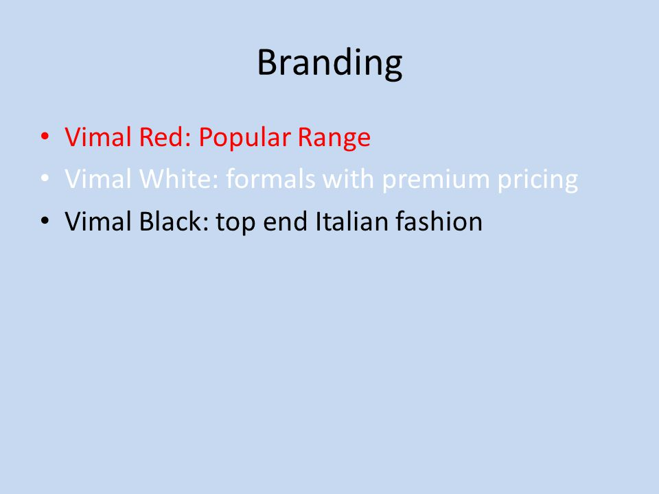 Branding Vimal Red: Popular Range Vimal White: formals with premium pricing Vimal Black: top end Italian fashion