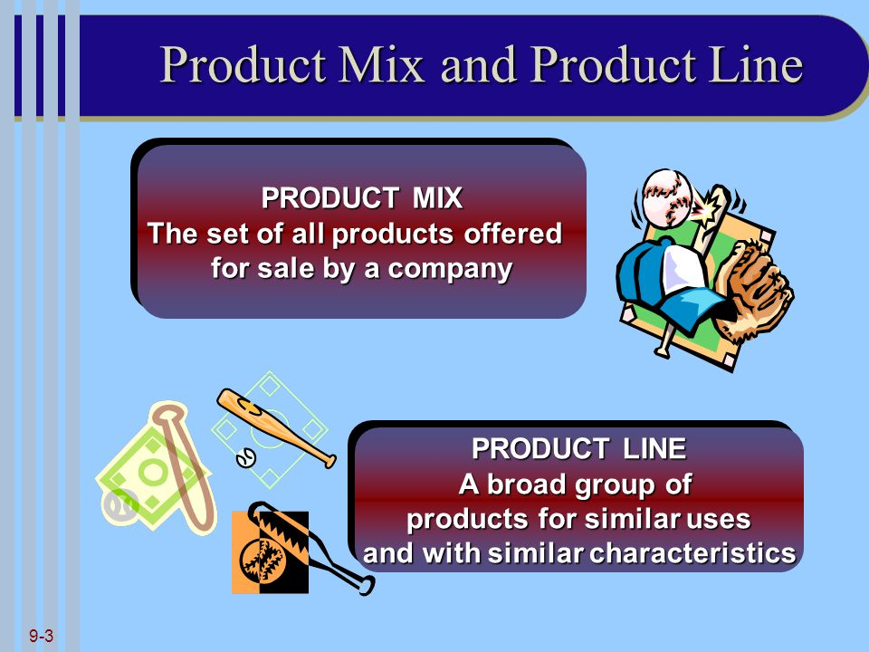 9-3 Product Mix and Product Line PRODUCT MIX The set of all products offered for sale by a company PRODUCT MIX The set of all products offered for sale by a company PRODUCT LINE A broad group of products for similar uses and with similar characteristics PRODUCT LINE A broad group of products for similar uses and with similar characteristics
