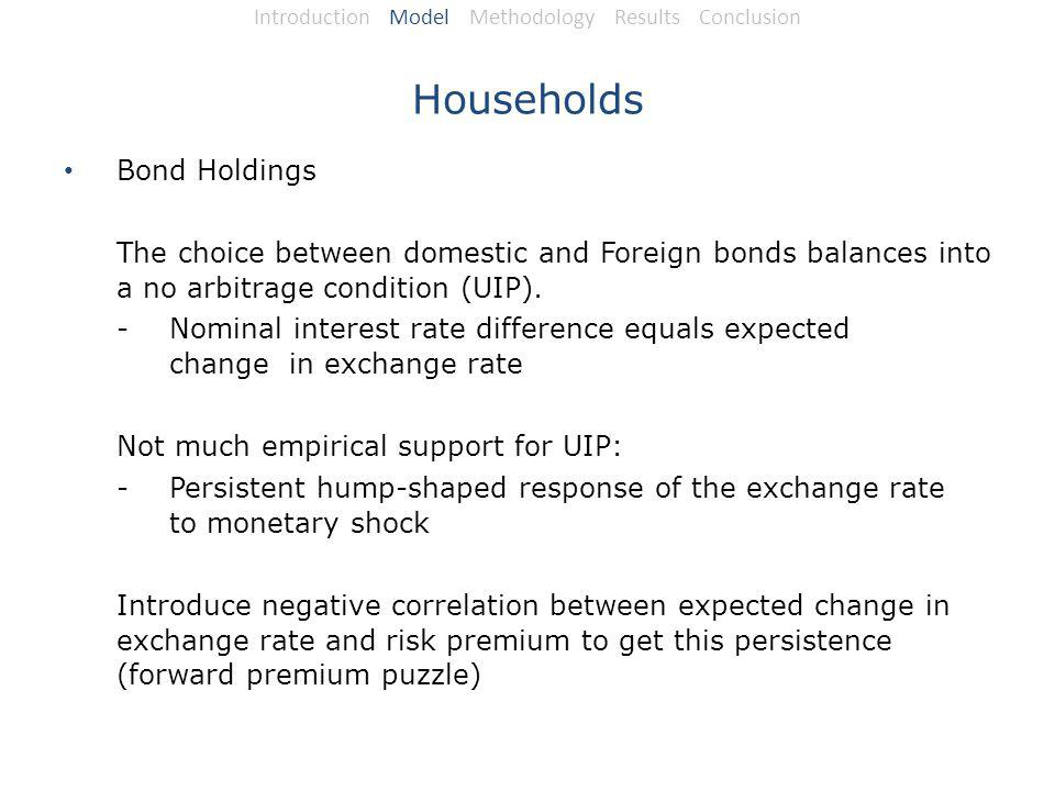 Households Bond Holdings The choice between domestic and Foreign bonds balances into a no arbitrage condition (UIP).