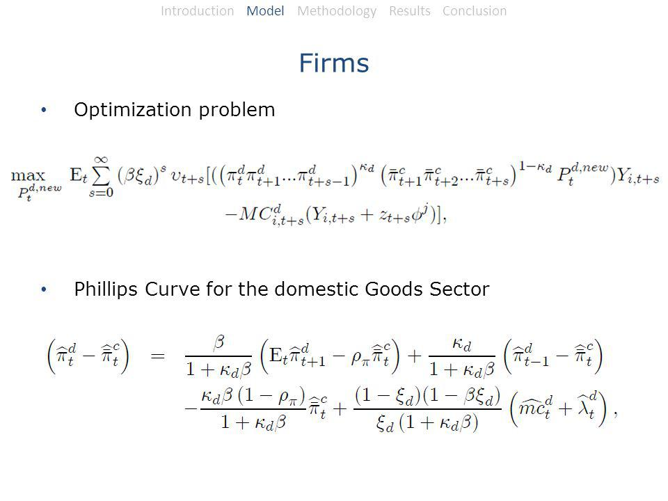 Firms Optimization problem Phillips Curve for the domestic Goods Sector Introduction Model Methodology Results Conclusion