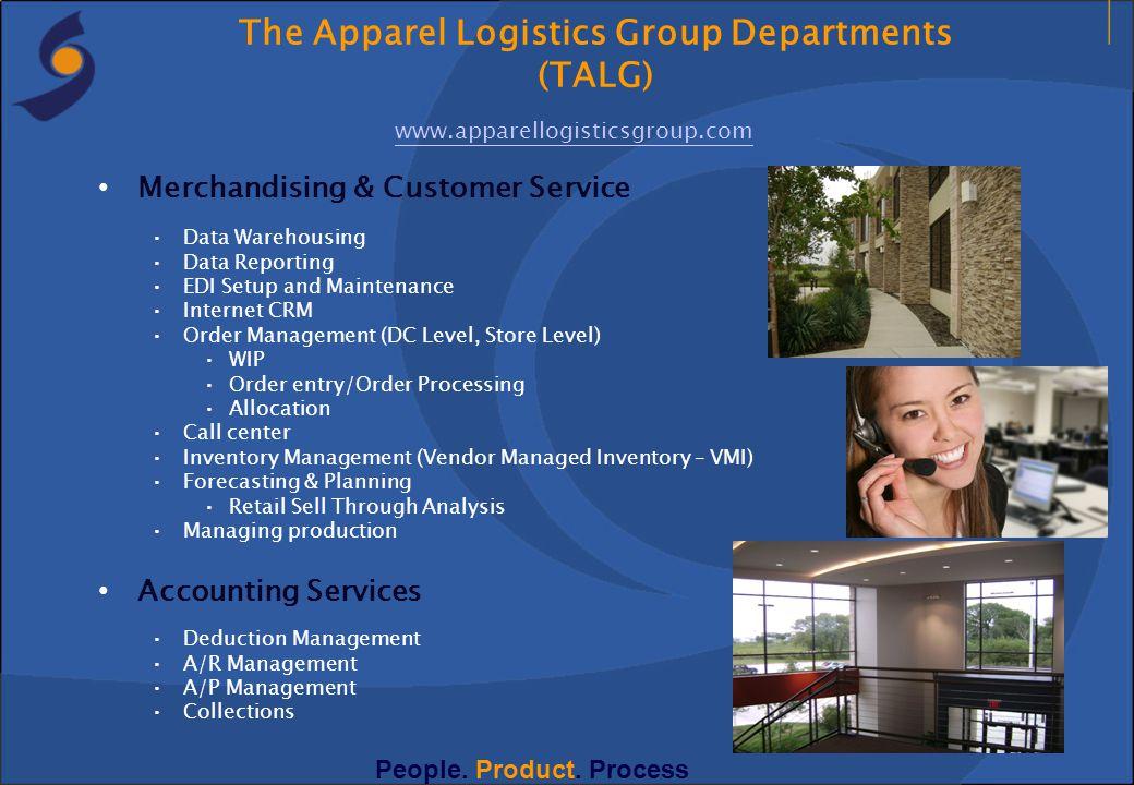 Merchandising & Customer Service Data Warehousing Data Reporting EDI Setup and Maintenance Internet CRM Order Management (DC Level, Store Level) WIP O