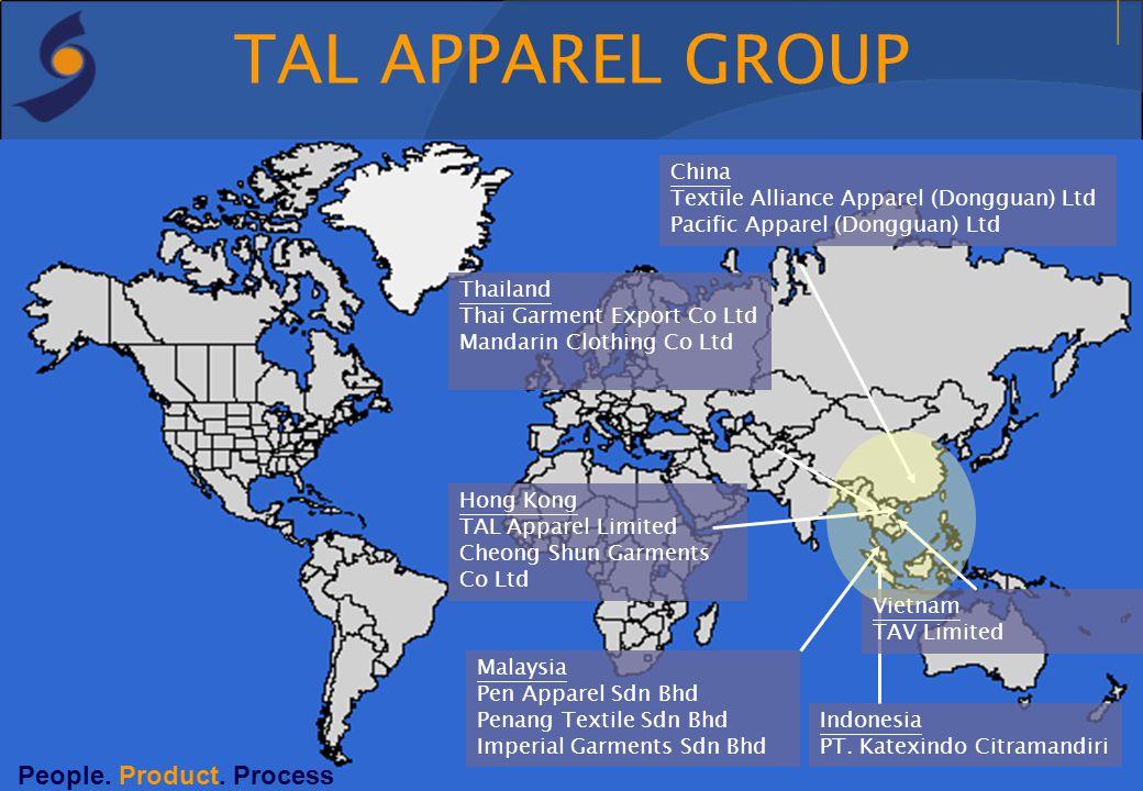 TAL APPAREL GROUP Malaysia Pen Apparel Sdn Bhd Penang Textile Sdn Bhd Imperial Garments Sdn Bhd Indonesia PT. Katexindo Citramandiri Thailand Thai Gar