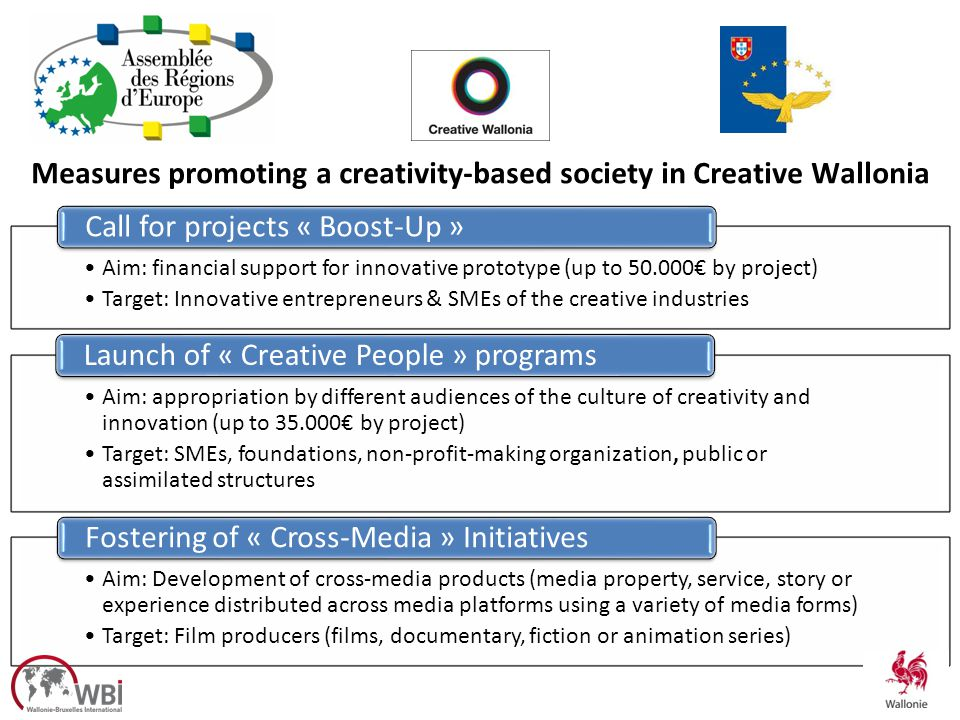 Aim: financial support for innovative prototype (up to 50.000 by project) Target: Innovative entrepreneurs & SMEs of the creative industries Call for