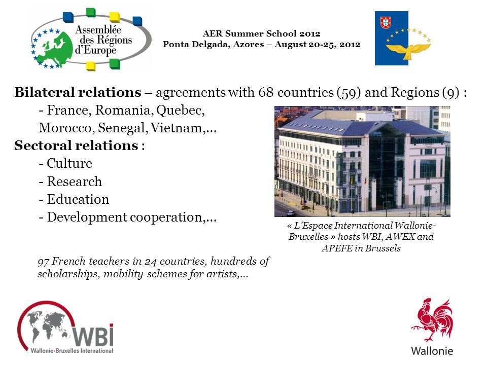 Bilateral relations – agreements with 68 countries (59) and Regions (9) : - France, Romania, Quebec, Morocco, Senegal, Vietnam,… Sectoral relations :