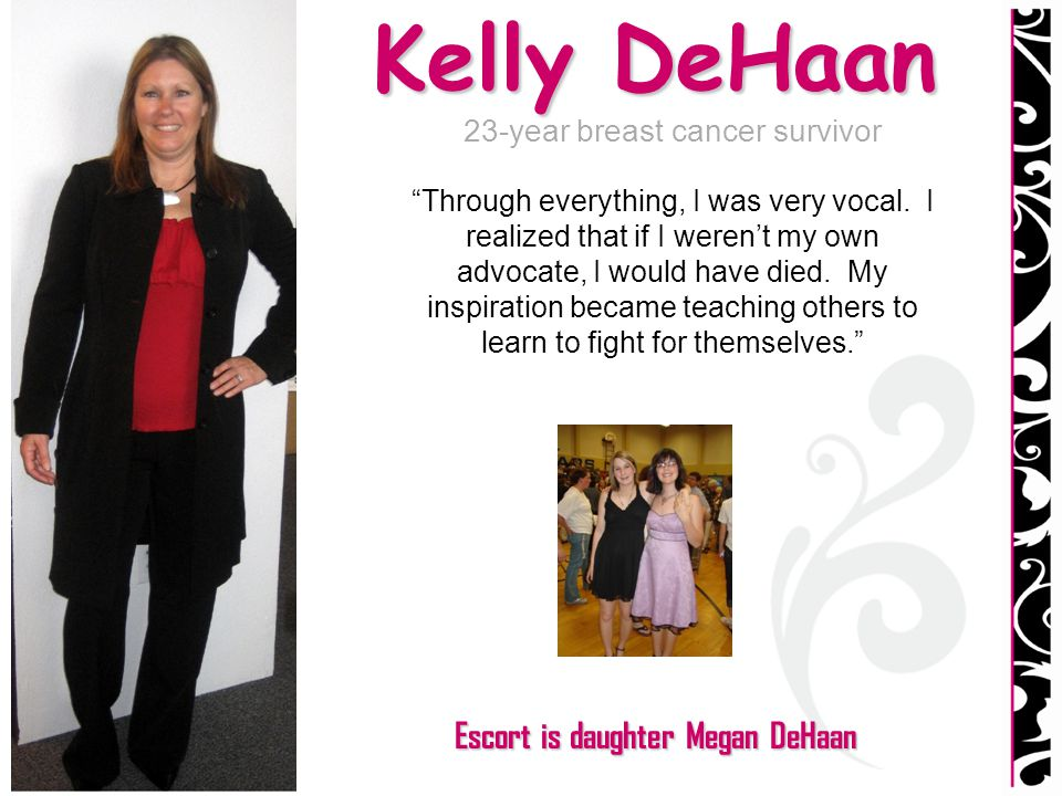 Kelly DeHaan 23-year breast cancer survivor Through everything, I was very vocal. I realized that if I werent my own advocate, I would have died. My i