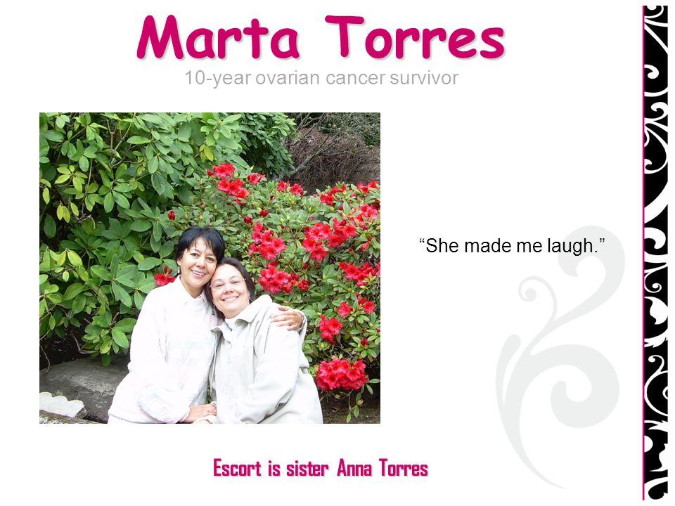 Marta Torres 10-year ovarian cancer survivor She made me laugh. Escort is sister Anna Torres
