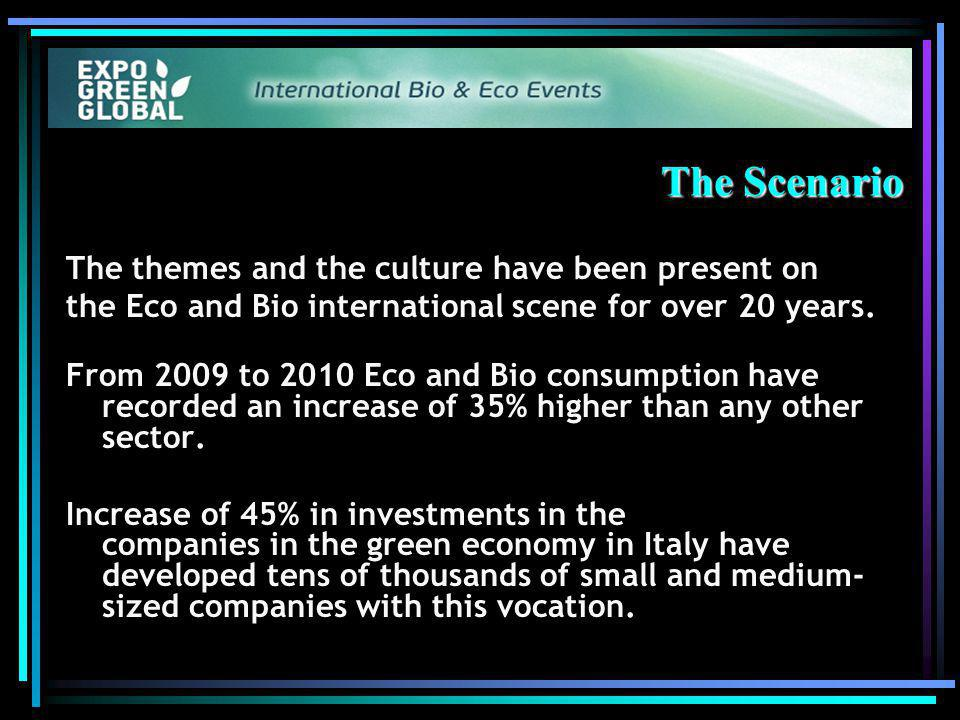 The Scenario The themes and the culture have been present on the Eco and Bio international scene for over 20 years.