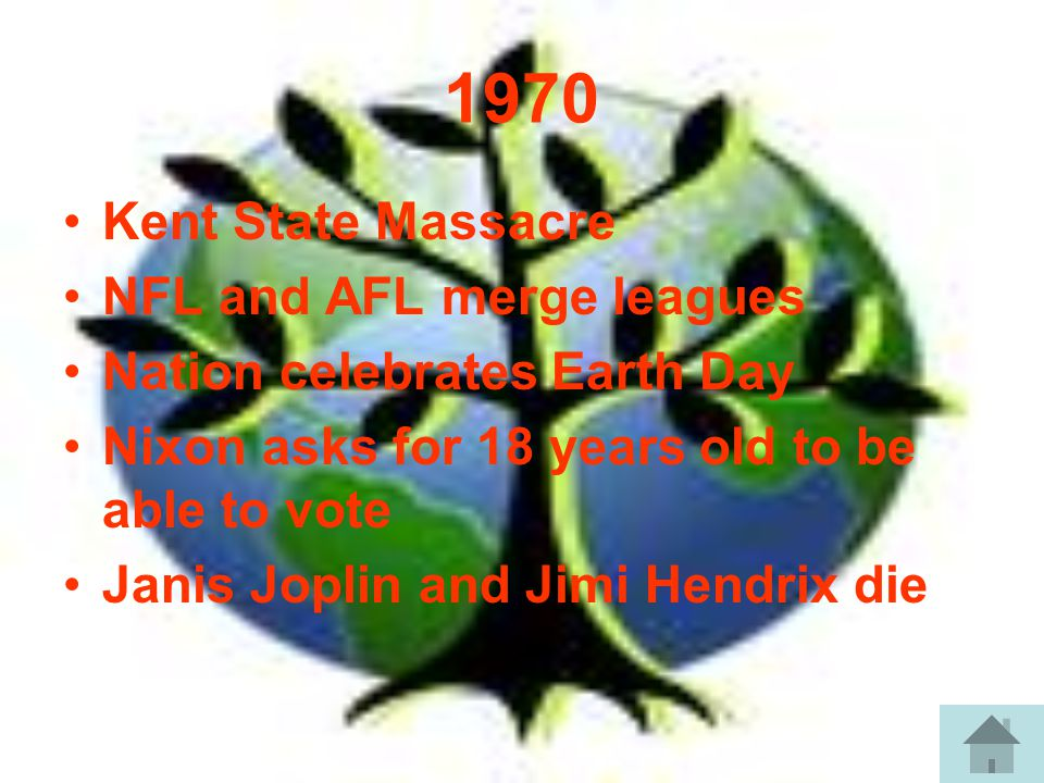 1970 Kent State Massacre NFL and AFL merge leagues Nation celebrates Earth Day Nixon asks for 18 years old to be able to vote Janis Joplin and Jimi Hendrix die