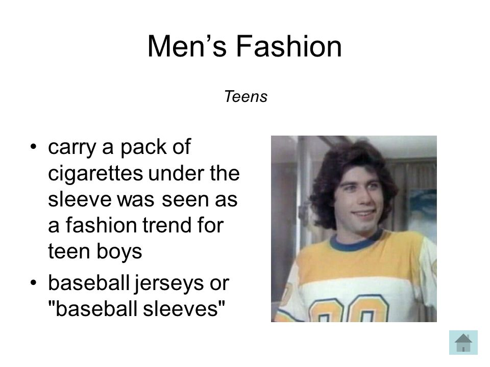 Mens Fashion carry a pack of cigarettes under the sleeve was seen as a fashion trend for teen boys baseball jerseys or baseball sleeves Teens