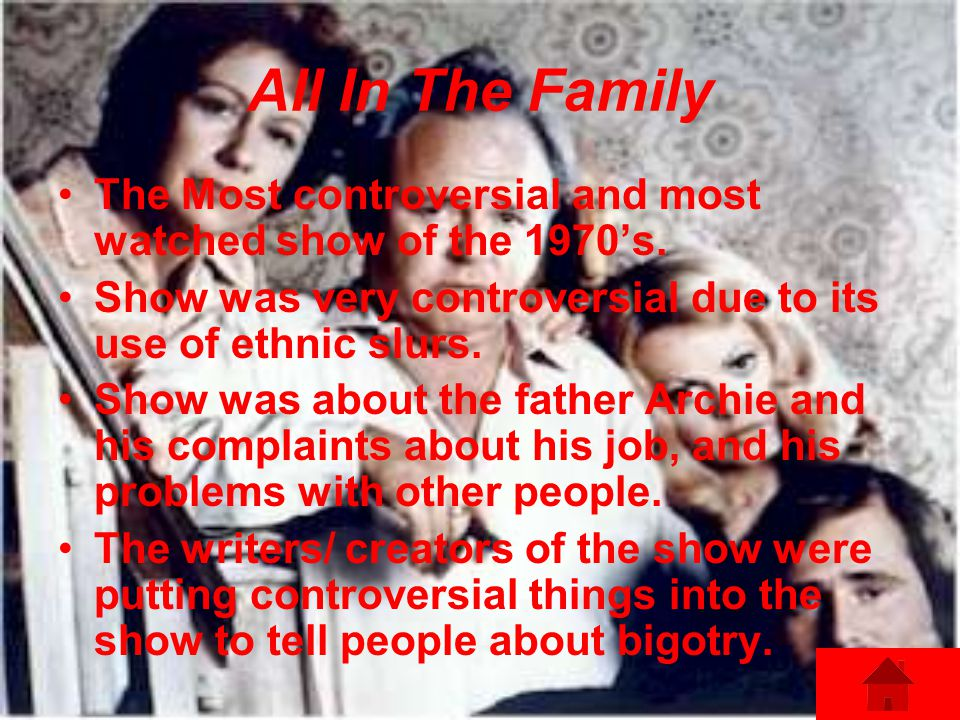 All In The Family The Most controversial and most watched show of the 1970s.