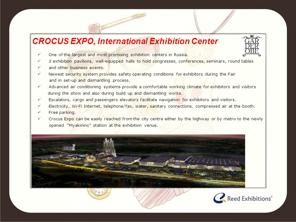 CROCUS EXPO, International Exhibition Center One of the largest and most promising exhibition centers in Russia.