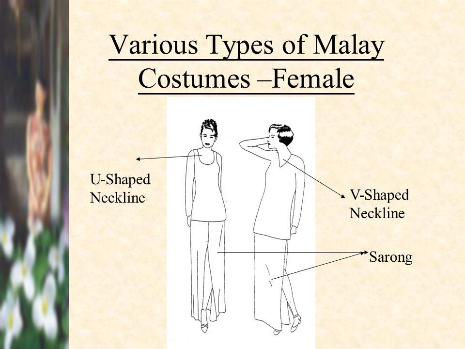 Various Types of Malay Costumes –Female U-Shaped Neckline V-Shaped Neckline Sarong