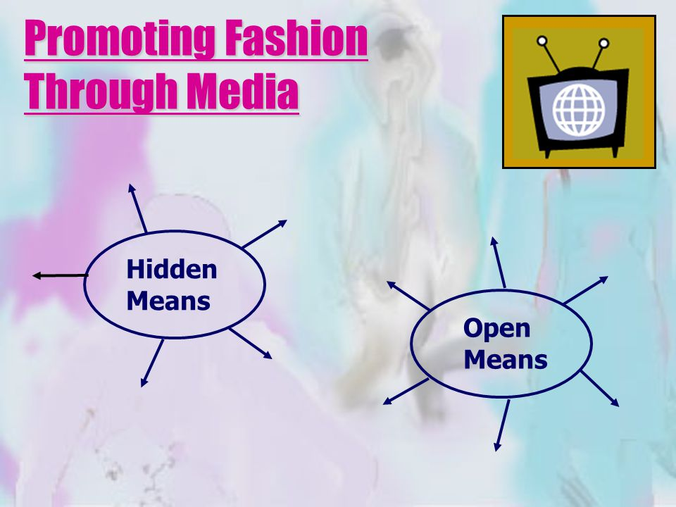 Promoting Fashion Through Media Hidden Means Open Means
