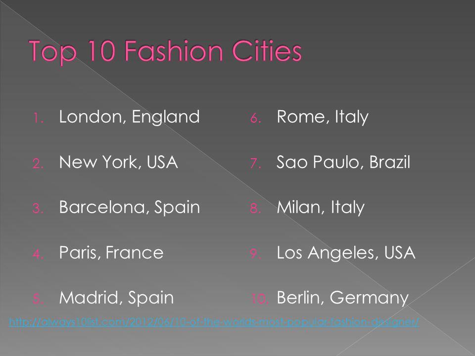 1. London, England 2. New York, USA 3. Barcelona, Spain 4.